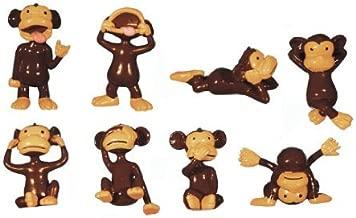 Monkey Madness Figures - Large Plastic Monkey Figures- Set of 8 (2 Inch Size Monkey Figures) Original Brown Monkeys