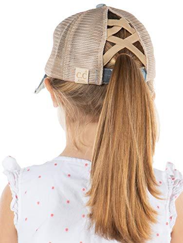 Kids Criss Cross Messy Bun Ponytail Hat - Blue Camo w/cmesh
