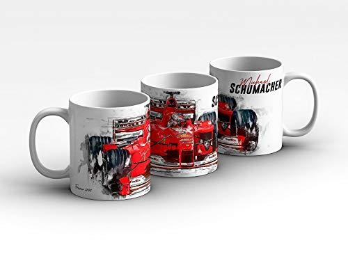 gasoline.gallery Formel 1 Tasse - Michael Schumacher - Scuderia Ferrari - 2000 Front Kaffeebecher Weiß