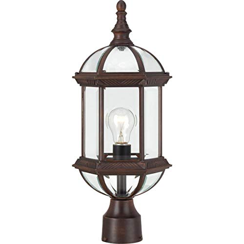 Nuvo Lighting 60/4975 Boxwood One Light Post Lantern 100 Watt A19 Max. Clear Beveled Glass Rustic Bronze Outdoor Fixture