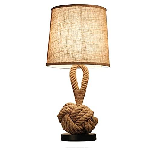 WDSWBEH Lámpara de Mesa de Noche, lámpara de Mesa de Cuerda de cáñamo de Estilo Industrial, lámparas de Mesa de Noche de decoración Vintage para Dormitorio, Estudio, Trabajo, Oficina