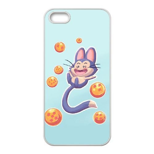 iphone5/iphone5s Case,Cute Poole with Dragon Ball Pattern Durable Hard Plastic Scratch-Proof Protective Case,White