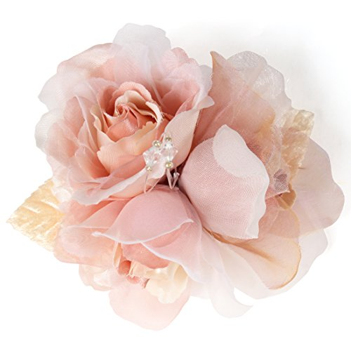 (クレインズコレクション) 手作り 三つ花ローズ コサージュ ブローチ 2WAY クリップ ピン フォーマル シーンや エレガント な装いに(ピンク)