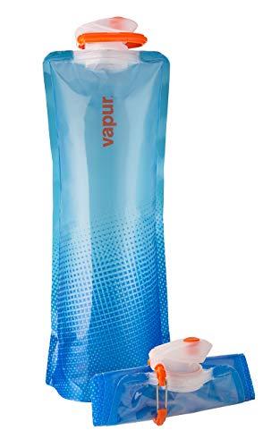 Vapur Plegable Flexible Botella de Agua con mosquetón, translúcido Azul, 1,5L