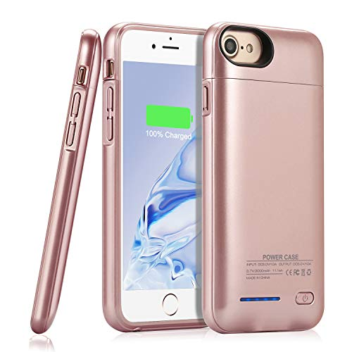 Battery Case for iPhone 8/7/6s/6/SE 2020(2nd Generation),YISHDA Upgraded[3000mAh]Magnetic Slim Extended Battery Case,Protective Portable Charging Case,Rechargeable Charging Case (4.7 inch) -Rose Gold