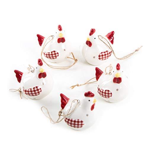 Logbuch-Verlag 5 kleine Mini Hühner Anhänger zu Ostern Osterdeko 7 cm zum Aufhängen Osterschmuck für Osterstrauch oder als Geschenkanhänger weiß rot Henne aus Keramik