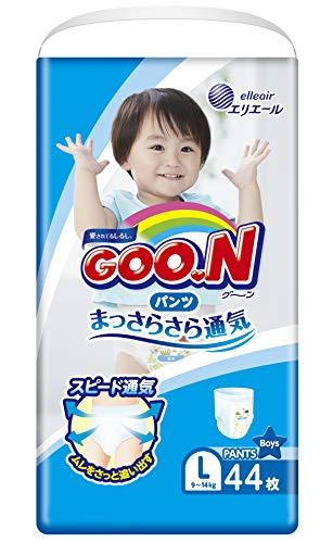 GOO.N Baby Windelhöschen für Jungen Größe L (9-14 kg) 44 Stück Premium Qualität Made in Japan