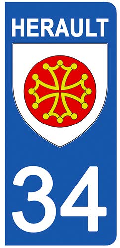 DECO-IDEES 2 Stickers pour Plaque d'immatriculation - 34 - Blason HERAULT- Stickers Garanti 5 Ans