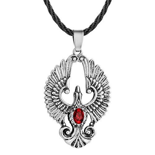 AILUOR Encanto de Acero Inoxidable Creado Ruby Phoenix Colgante Collar Escandinavo Antiguo gótico Vikingo Eslavo Amuleto Ave de la Maravilla Animal Cuerda Collar Joyería de Moda Unisex