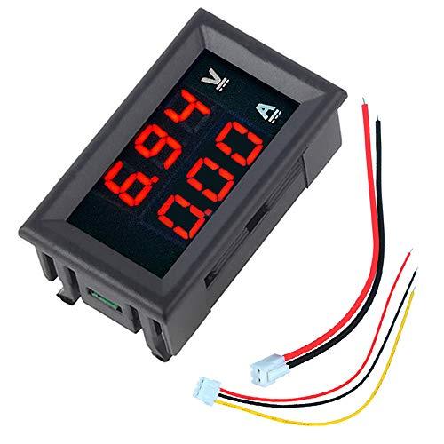 BouBou 10Pcs Mini Voltímetro Digital Amperímetro DC 100V 10A Panel Amp Volt Voltaje Medidor De Corriente Tester 0.56 'Rojo Rojo Pantalla Led Dual
