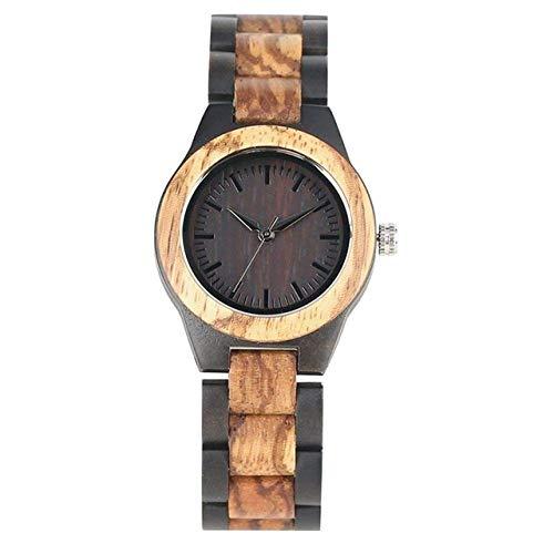 AZDS Reloj de Madera para Mujer, Reloj de Madera Mixto, Relojes de Cuarzo, Banda de Madera Ajustable Completa, Moda Deportiva, Reloj Informal para Mujer, Hora