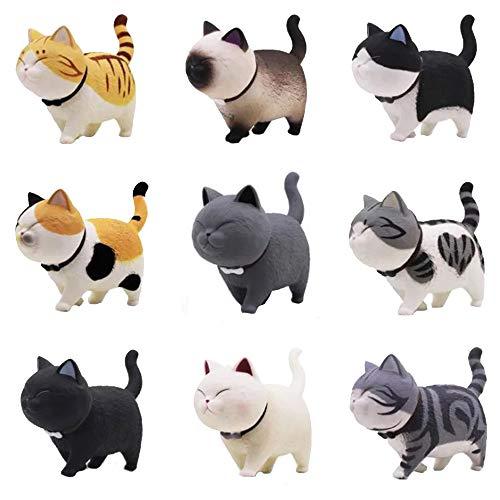 9 Pack Katzenfiguren Haus / Auto Dekoration Handwerk Ornamente Zubehör Harz Katze