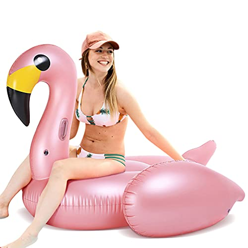 FUNOVA Riesiger Aufblasbar Flamingo Luftmatratze Badeinsel Aufblasbarer Pool Floß Schwimmtier Schwimminsel Pool Spielzeug Wasserspielzeug Wasser Strand Party Kinder Erwachsene Rosa Roségold-Large