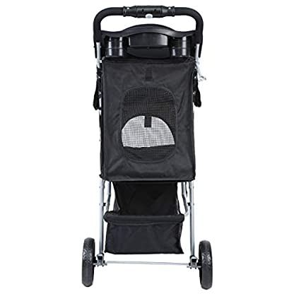 Yonntech Pet Travel Stroller Foldable Cat Dog Pushchair Trolley Puppy Jogger Buggy Dog Carrier Maximum Weight 15Kg with Cup Holders Storage Basket Three Wheels (Black) 6