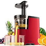 COSTWAY Slow Masticating Juicer Machine with Quiet Motor & Reverse Function, Non-drip Cold Press Juicer Extractor Creates Healthy Nutritious Fruits and Vegetables Juice (Red)