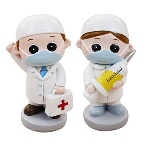 Amosfun 2 pcs Doctor Figurine Resin Mininature Nurse Statue Cake Topper Dollhouse Figures Desktop Dectorative Ornament Doctor Nurse Themed Party Supplies