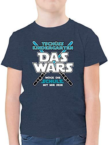 Einschulung und Schulanfang - Das Wars Kindergarten Blau - 140 (9/11 Jahre) - Dunkelblau Meliert - Junge Shirt 128 Schulanfang - F130K - Kinder Tshirts und T-Shirt für Jungen