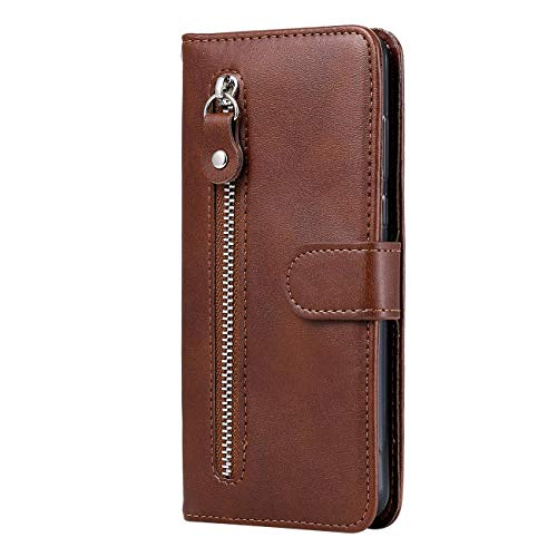 TOYYM for Huawei P30 Lite Case,PU Leather Flip Notebook Bookstyle Handbag Zipper Pocket Wallet Case with Kickstand Card Holder Bumper Cover with Magnetic Protective(Brown)
