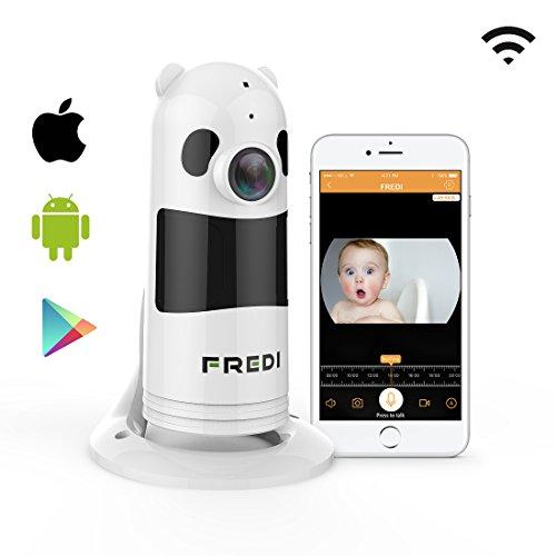 FREDI HD 1080P Cámara Panorámica/WiFi Cámara IP/Cámara Vigilancia/Cámara Seguridad y Inalámbrica/Vigilabebes Baby Monitor IR Visión Nocturna/2-way Talking Detección de Movimiento Vista Remota-Blanca