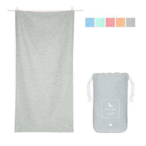 Dock & Bay Towels for Fitness and Sport - Essential - Mountain Grey - Large (160x90cm, 63x35) - Fast Dry Gym Sweat Towel, Compact Pocket Pouch - 100% Recycled