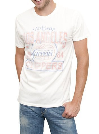 TV Store NBA Los Angeles Clippers Vintage Sugar White Uomo T-Shirt (Adulto XX-Large)