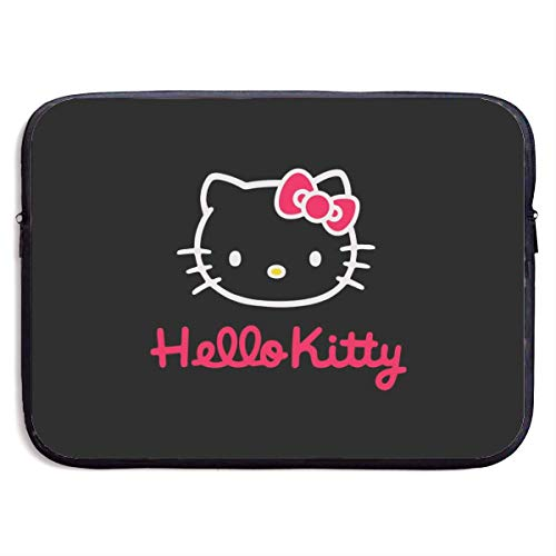 Laptop Sleeve Shockproof Soft Carrying Bag Black and Pink Hello Kitty Notebook Computer Pocket Case for MacBook Pro Air 13-15 Inch