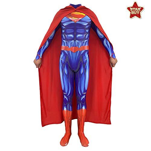 HEROMEN Disfraz De DC Superman Steel Body 2 Lycra Siamese 3D Prin Tights Christmas Halloween Fancy Dress para Adultos/Niños - Contiene Capa,Adult-XL