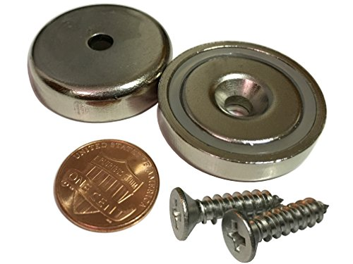 """Nexlevl Extreme Power Rare Earth Magnets, 2 Industrial Strength Round Base Neodymium Magnets, 90lb+ Holding Force, 1.26"""" Diameter, Countersunk Hole for #10 Bolt, Strongest Available"""