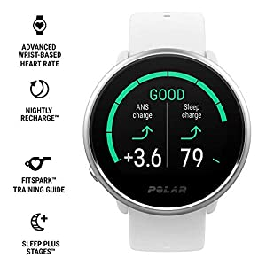 Polar Ignite Fitness GPS Watch Power Bundle (White-Silver, Small) | with PlayBetter HD Screen Protectors & Portable Charger | Polar Precision Heart Rate, Integrated GPS & Sleep Plus Tracking
