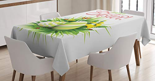 ABAKUHAUS Ostern Tischdecke, Frühlings-Saison-Laub, Für den Inn und Outdoor Bereich geeignet Waschbar Druck Klar Kein Verblassen, 140 x 170 cm, Mehrfarbig