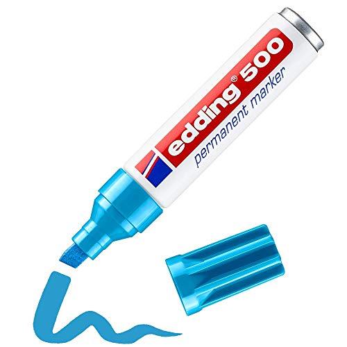 edding Permanentmarker edding 500, nachfüllbar, 2-7 mm, hellblau