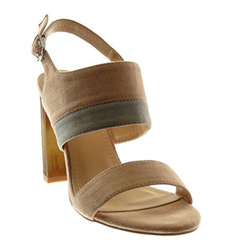 Angkorly - Scarpe Moda Sandali Decollete con Tacco con Cinturino alla Caviglia Donna Bicolore Legno Tacco a Blocco Alto 10 CM - Rosa YS467 T 39