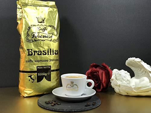 Nie wieder Antriebslos am Morgen    Caffé Veronesi - Brasilia 1Kg italienische Espresso Bohnen Säurearm dunkel geröstet   Nussiges Aromaprofil - dunkel braune Crema - für Vieltrinker geeignet