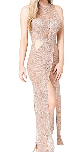 Rimi Hanger Women Sexy Wrap Front Knitted Metallic Maxi Ladies Fancy Dress Party Wear Maxi Rose Gold One Size US 4-10