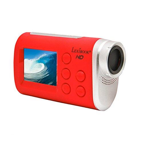 Lexibook DJA100 Move Cam, fonction Wi-Fi, photos, vidéos, 5MP, boitier étanche inclus, batterie lithium, rouge/gris
