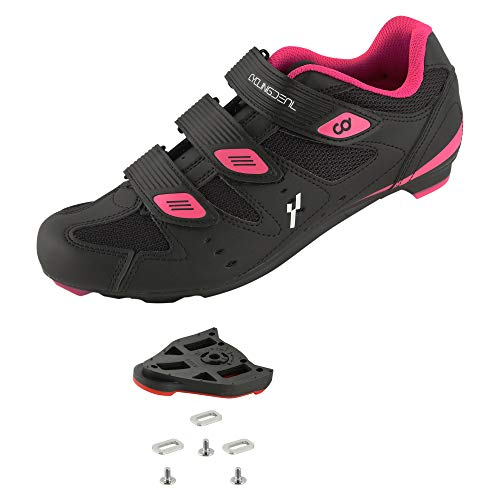 CyclingDeal Bicycle Road Bike Universal Cleat Mount Women's Cycling Shoes Black with 9-Degree Floating Look ARC Delta Compatible Cleats Compatible with Peloton Indoor Bikes Pedals Size 39