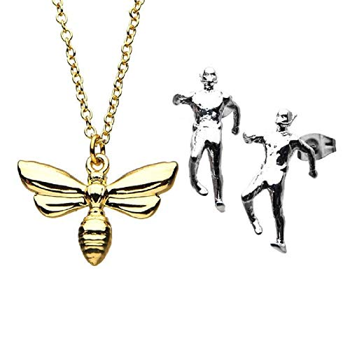 Ant-Man - Officially Licensed Premium Quality Stud Earrings and Wasp Pendant with Chain Set