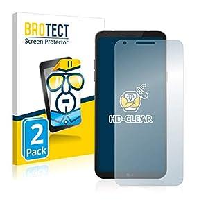 BROTECT Protector Pantalla Compatible con LG Q6 Protector Transparente (2 Unidades) Anti-Huellas