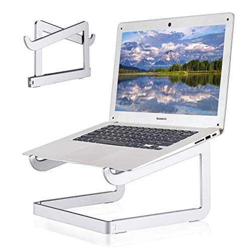 "Laptop Stand Portable, Aluminum Foldable Laptop Riser Holder, Ergonomic Computer Stand Ventilated Cooling Notebook Stand for MacBook Pro/Air, HP, Lenovo, Sony, Dell, More 10-15.6"" Laptops - Silver"