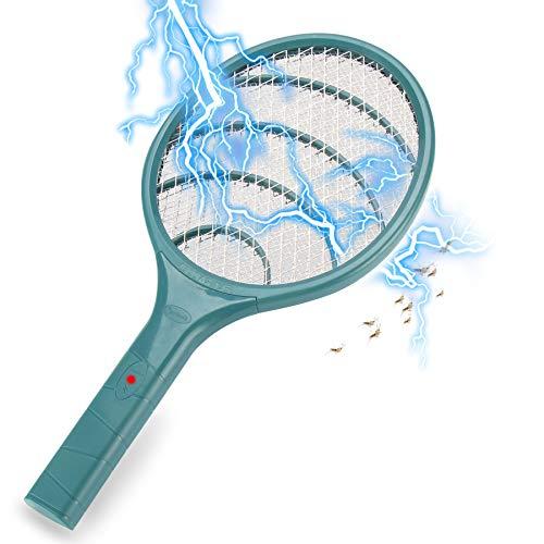 Lukasa Racchetta Zanzare Elettrica, Swatter Insetti Elettrico Repellente Mosquito Killer Elettronico Volare Anti-Insetti Stermina Uccisore Mosche Insetticida (Army Green)