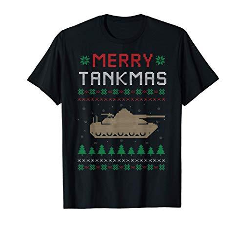 Merry Tankmas Battle Tank Military Ugly Christmas Sweater T-Shirt