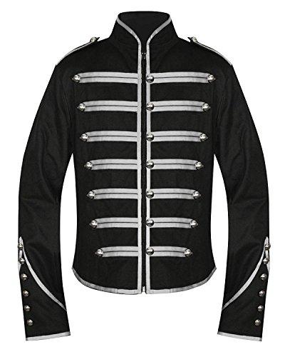 Chaqueta de desfile para tambor de banda militar Men's Unique, para hombre, de estilo gótico, punk y emo, color plata y negro Negro negro / plateado X-Large