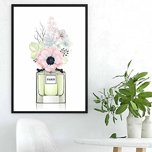 Arte de pared lienzo Perfume peonía pintura de flores carteles nórdicos e impresiones imágenes de acuarela para decoración de sala de estar 40x60cm sin marco