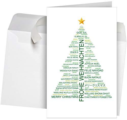 50 Premium Weihnachtskarten incl.Umschläge Motiv: Wordcloud-Baum, Set: 50 Stück hochwertige Klappkarten (Hochformat 12x19 cm groß) für internationale Weihnachtsgrüße an Firmen, Kunden und Lieferanten