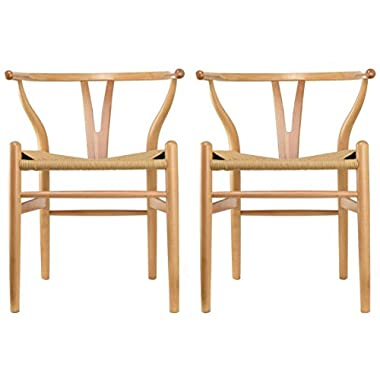 2xhome Set of 2 Natural Wishbone Wood Armchair With Arms Open Y Back Open Mid Century Modern Contemporary Office Chair Dining Chairs Woven Seat Brown Living Desk Office