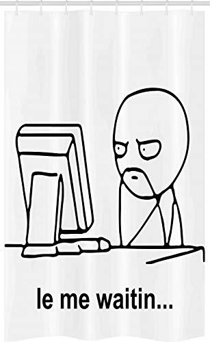 ABAKUHAUS Humor Douchegordijn, Leuk Strips Gezicht Meme, voor Douchecabine Stoffen Badkamer Decoratie Set met Ophangringen, 120 x 180 cm, Zwart en wit