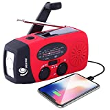GREATONE Weather Radio Emergency Hand Crank Self Powered AM/FM NOAA Solar Portable Camping Weather Radio with LED Flashlight,2000mah Portable Charge for Phone Survival Pack 071 (red)