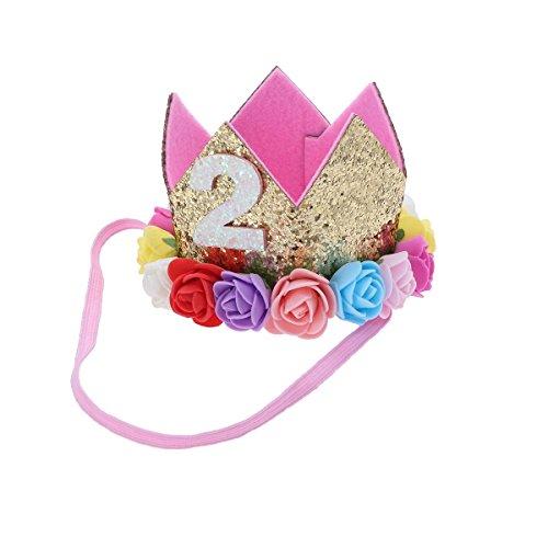 FRCOLOR Krone Baby 2.Geburtstagskrone Stirnband Prinzessinkrone Blumen Krone Tiara Haarband