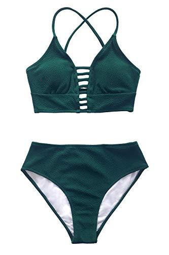 CUPSHE Damen Bikini Set mit Zierriemen Cut-Out Bademode Zweiteiliger Badeanzug Grün M