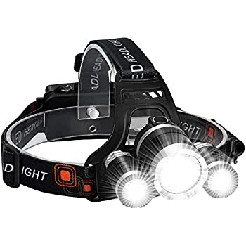 2 Pack Headlamp for Adults LED 6000LM Ultra Bright 3 LED Headlight USB Rechargeable 4 Modes Flashlight Waterproof Outdoor Fishing Camping Hunting with Red Light(2 pack)